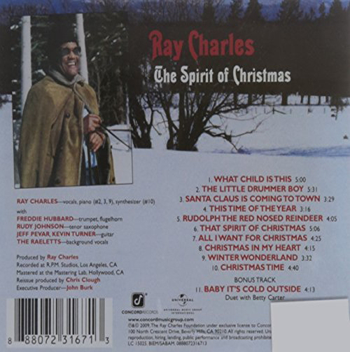 Ray Charles Christmas.Ray Charles The Spirit Of Christmas Children S Records